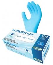 Перчатки синие без пудры смесь винил и нитрил Nitech размер L, 100 шт