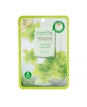 Маска-салфетка для лица Зеленый чай BeauuGreen Contour 3d Green tea essence mask