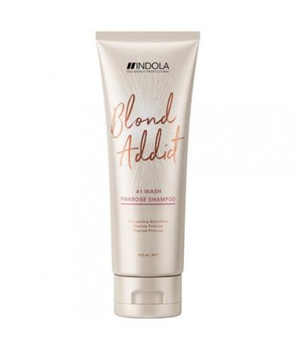 Шампунь с розовым оттенком для блондинок Indola Blond Addict PinkRose Shampoo