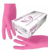 Рукавички нітрилові рожеві без пудри SFM розмір М, 100 шт (пл 3.8)